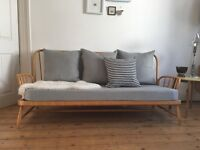 Ercol sofa fully refurbished 100% linen cushions Jubilee blonde day bed