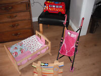 Four Toys - Wooden Cot, Playbus, Doll Pushchair and car track