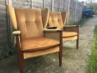 Parker Knoll wing armchairs. Retro chairs