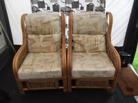 Cane 2 seater and 2 chairs