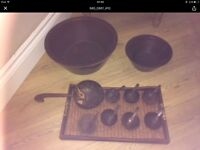 Manicure and pedicure wooden bowl set
