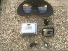 REMAPPED Seat Ibiza pd130 ECU, Clocks and lock set, ignition barrel and key