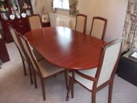 Dining Table and 6 chars plus display cabinets and coffee table
