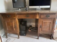Solid wood desk with very deep drawers, perfect for upcycling