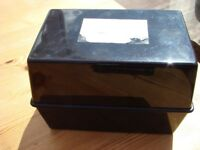 Black File records box. £1. Not cracked, hinges open. Great for keeping confidential records filed