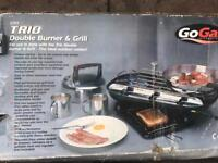 Trio Double Burner And Grill - Comes With 2 Gas Bottles