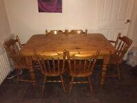 Solid Pine Kitchen table and 6 Chairs; Ideal for famililes