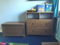 Solid wood ikea single bed, wardrobe, drawers, toy chest and bookshelf