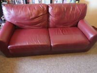 Dark Red Excellent Condition small 2 seater and big 2 seater faux/real Leather sofa