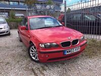 03 BMW 318i 2.0 PETROL SALOON IN RED *PX WELCOME* MOT TILL FEB 2018 £895