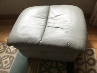 Pale Green Leather Footstool with storage (matching suite)