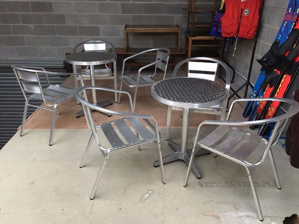 Aluminium Bistro Furniture Cafe table and chairs Cheap Garden