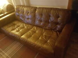 Brown leather sofa 3-1 & pouffe