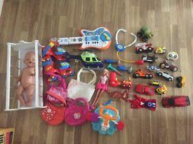 Girls and boys toys cars handbags