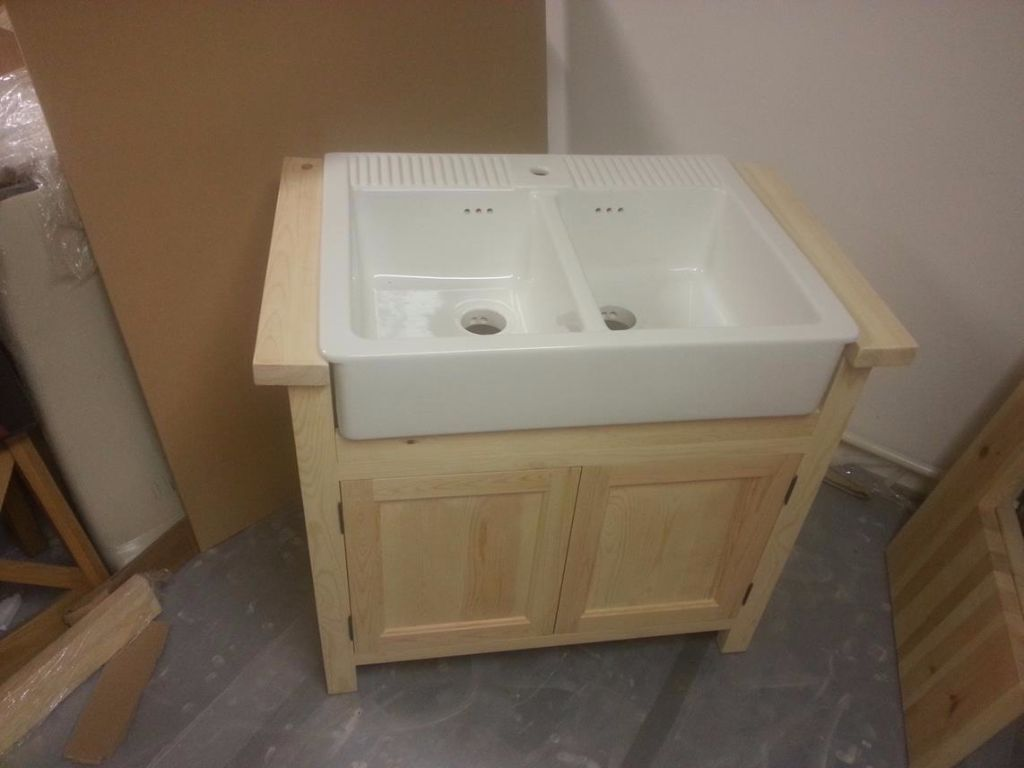 Freestanding Base unit for Ikea Domsjo Ikea Sink Firs Double Bowl Domsjo Sink, Solid Pine Base ...