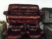 As new oxblood 3 11 leather sofa set