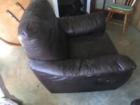 Real Leather Swivel Recliner chair Dark Brown - ikea