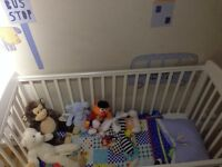Whitw Mamas and Papas Cot and Baby Changing Unit