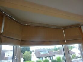 Stunning set of three lined roman blinds for a bay window. Champagne / beige / pale gold colour.