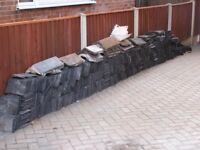 """Large quantity of reclaimed 10"""" x 6"""" slate roof tiles and some ridge tiles"""