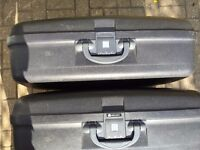 Two (2) Large and Robust Delsey Hard Plastic Suitcases in Good Condition & Working Order