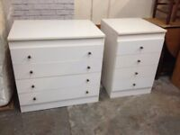 PAIR OF LARGE WHITE BEDROOM CHEST OF DRAWERS ~~ GOOD CONDITION ~~ CAN DELIVER TO WEST MIDLANDS