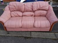 **FREE** 3 SEATER LEATHER PINK SOFA