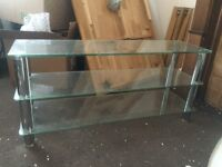 TV stand Glass rectangle Tv stand good condition £40