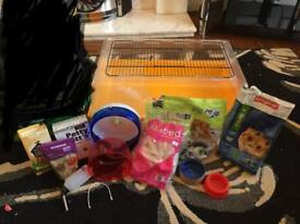 REDUCED Hamster/rodent start up kit including cage bedding and wheel