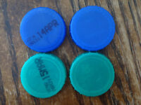 100 x Green and blue plastic milk bottle caps for art & Craft works
