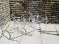 FREE DELIVERY Two Ghost Chairs Plastic Furniture