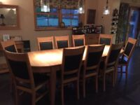 Solid Oak Dining Table and 10 Chairs