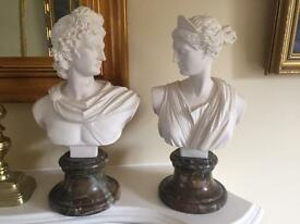Two ceramic and marble bust