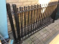 Metal fencing with posts
