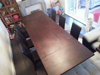 Madrid 200cm Dark Solid Oak Extending Dining Table with 6 Brand new chairs -EX DISPLAY- RRP £1798