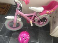 Girls Bike complete with stabilisers and helmet
