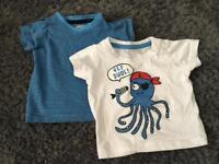 2 short sleeved T-shirt's. Size 3-6 months.