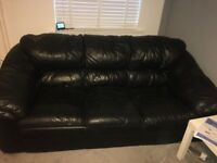 2 seater and 3 seater black leather