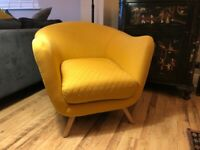 Stylish Statement Piece Armchair - 'Flick' in York Yellow from MADE dot com