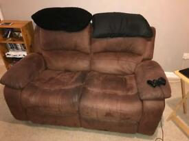 Brown suede reclining sofa