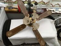 Wood/cane Style Ceiling fan/light