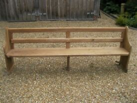 OLD PINE CHURCH PEW. Delivery possible. More benches, pews, chapel chairs, table & monks bench.