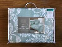 BRAND NEW DUCK EGG DARCY 5 PIECE BED IN A BAG - DOUBLE