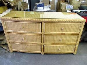Wicker 6-Drawer Dresser with Protective Glass Top - Used -