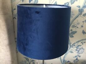 2x navy velvet lampshades