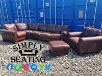 Harvey Chocolate Brown Italian Leather Corner Sofa, Arm Chair and Foot Stool