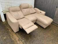 Cream leather electric recliner corner sofa*can deliver