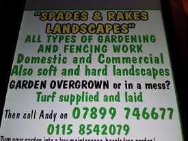 OVERGROWN OR IN A MESS. TIDY UPS,DECKING,FENCING,TURFING,GRAVELING,