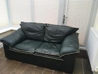 2 Seater Leather Sofa plus footstool