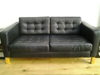 Black leather 2seater sofa from Ikea good condition suit teenagers room or tv room £60